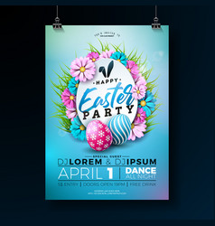 Easter party flyer with vector