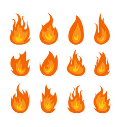 fire flames set isolated on black vector image