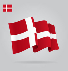 Flat and waving Danish Flag vector