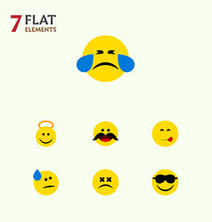 Flat icon face set of delicious food happy cross vector