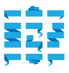 Folded ribbon banner set collection blue label vector