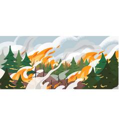 Forest fire flat dangerous vector