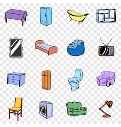 Furniture set icons vector image