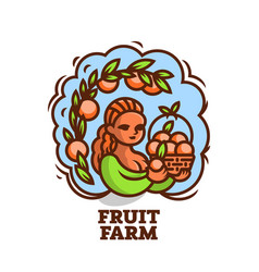 girl farmer with a basket fruit vector image