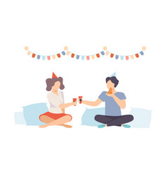guy and girl with food and drinks at pajama party vector image