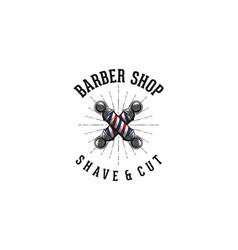 hand drawn crossed barber pole vintage barber vector image