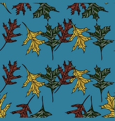 hand drawn seamless pattern with oak leaves vector image
