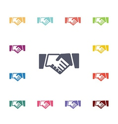 Handshake flat icons set vector