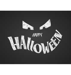 Happy halloween chalk lettering with pumpkin vector