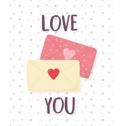 happy valentines day romantic envelope mails vector image