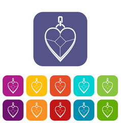 heart shaped pendant icons set flat vector image