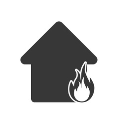 House home flame fire insurance icon vector