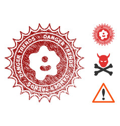 Infection danger trends stamp with grunge style vector