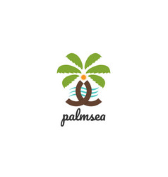 isolated palm tree logo design template vector image