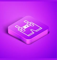 Isometric line lederhosen icon isolated on purple vector