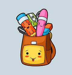 Kawaii school backpack with cute education vector