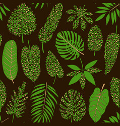 leaves tropical plants with leopard print vector image