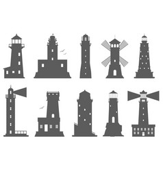lighthouses silhouette flat searchlight vector image