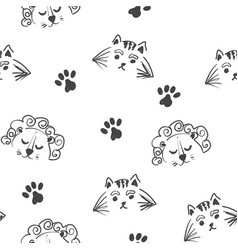 line art graphic lion and tiger head seamless vector image