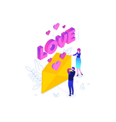 love letter - modern colorful isometric vector image