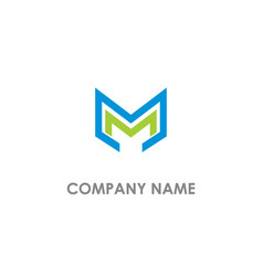 m initial colored logo vector image