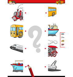 Match the halves of vehicle characters vector