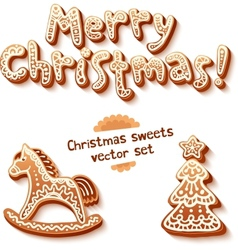 Merry Christmas gingerbread sign horse and trees vector image vector image