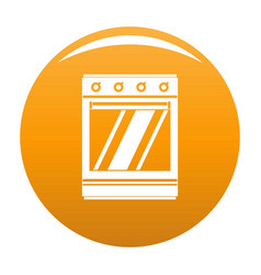 Modern gas oven icon orange vector