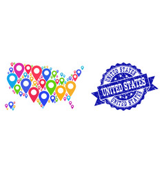 Mosaic map of usa territories with map pointers vector