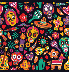 motley seamless pattern with traditional mexican vector image