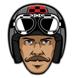 Motorcycle rider with mustache and wearing vintage vector