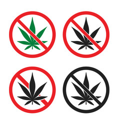 no marijuana sign set cannabis prohibition icons vector image