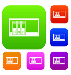 office folders on the shelf set color collection vector image