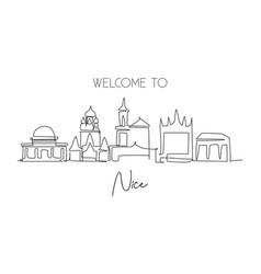 One single line drawing nice city skyline vector