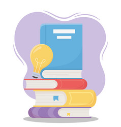 Online education pile books with light bulb vector