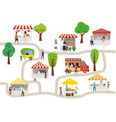 Outdoor street food festival with people walking vector