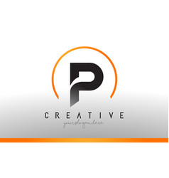 P letter logo design with black orange color cool vector
