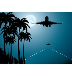 Palms moon and plane vector