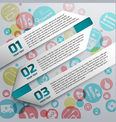 paper text ribbons at medical background vector image