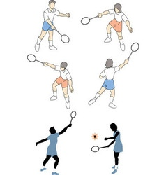 People playing tennis vector
