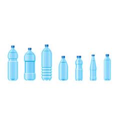 Plastic water bottle blue color set containers vector