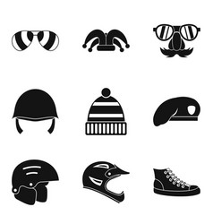 Protection hats icon set simple style vector