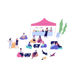 relaxed people and pets spend time at outdoor cafe vector image