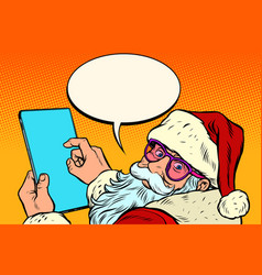 santa claus with a tablet merry christmas vector image