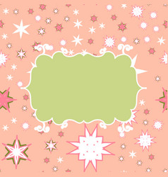 Scrapbooking green on pink template with place vector