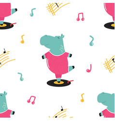 Seamless pattern with cute hippo dancing on a vector