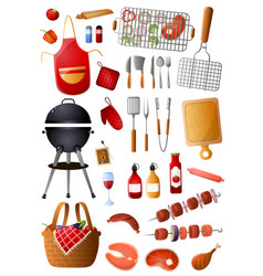 set barbecue tools and equipment for family vector image