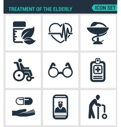 Set modern icons Treatment the elderly vector image