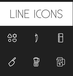 Set of 6 editable meal outline icons includes vector