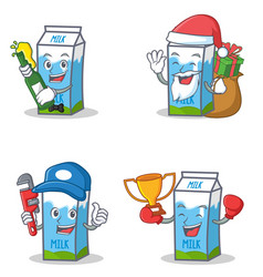 Set of milk box character with beer gift plumber vector